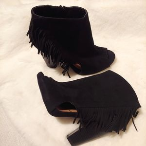 Rue21 Faux Suede Frill Cut-out Ankle Heels Boots